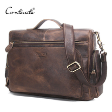 CONTACT'S Genuine Leather Man Bag Vintage Big Totes Handbags Men Messenger Bags Briefcase Men's Travel Bags Male Shoulder Bag