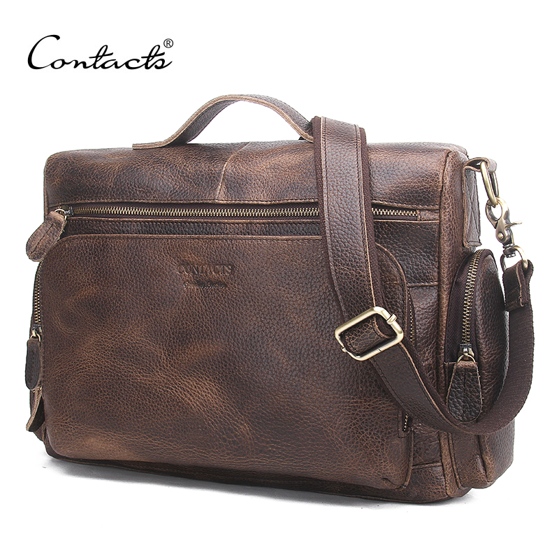 CONTACT'S Genuine Leather Men Bag Vintage Totes Handbags Men Messenger Bags Briefcase Men's Travel Bags Shoulder Bag augur men s messenger bag multifunction canvas leather crossbody bag men military army vintage large shoulder bag travel bags