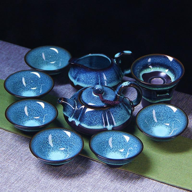 9 Pcs Ceramic Blue Crackle Glaze Kung Fu Tea Set, 1 Teapot With 6 Teacups And Infuser, Exquisite Design For Tea Services Or Gift