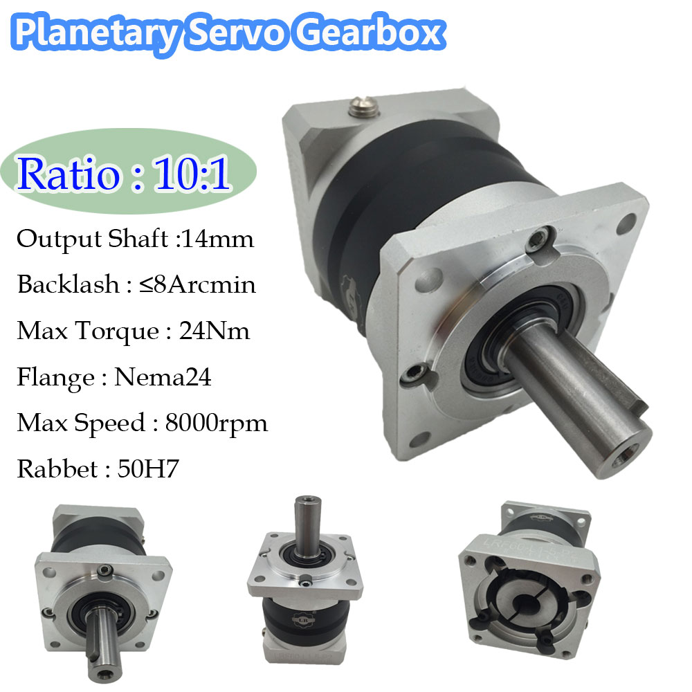 Gear Ratio 10:1 Planetary Servo Gearbox Nema24 8ARCMIN Backlash 60mm Flange Servo Geared Speed Reducer CNC 25 1 gear ratio planetary servo motor reducer nema24