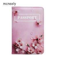 Mcneely-funda de pasaporte de piel rosa con flor de melocotón para mujer, funda para pasaporte, tarjetero