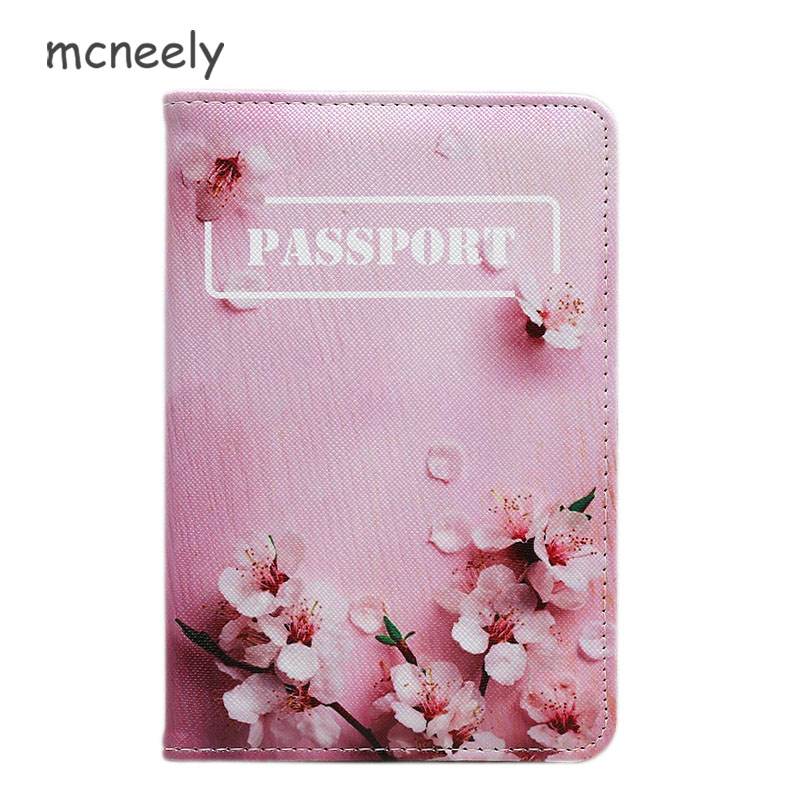 Mcneely Peach blossom Women Passport Cover Pink Leather Passport Holder With Card Holder Girl Passport Case Porte Carte