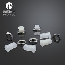 Natural PP/PTFE 1/4-28UNF Bulkhead Union Fitting Male Thread for Teflon Tubes