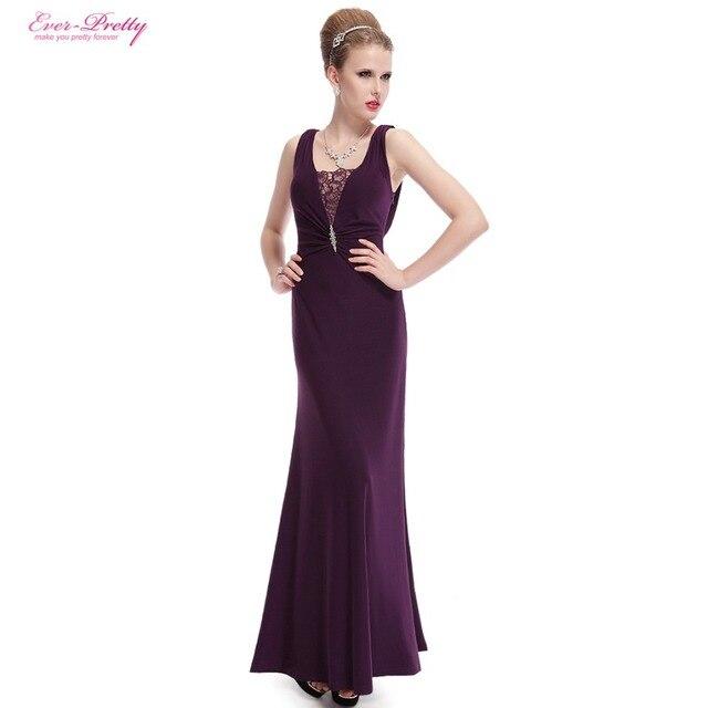 Alguna vez Pretty Sexy Largo Elegante Modest Cuello de Encaje de Diamantes de Lujo Delgado Acanalado Púrpura Vestido de Fiesta Formal Vestido de Noche HE08006PP
