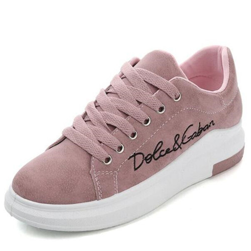 2019 New Spring Autumn  Wedges Pink Lace-up Platform Sneakers Women Vulcanize Shoes Tenis Feminino Casual Female Shoes T0111