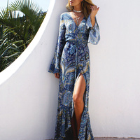 Women Summer Boho Maxi Long Dress High Split Print Floral Ruffles Hem Wrap Dresses Sexy V