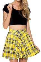 X-333 Summer Skirts Tartan Yellow Skater Skirt Black Milk Womens Pleated Skirts Print Fashion