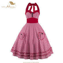 SISHIOH Women Plaid Dress Plus Size Summer Clothing 2017 Retro Swing Short Pin up Vintage 60s