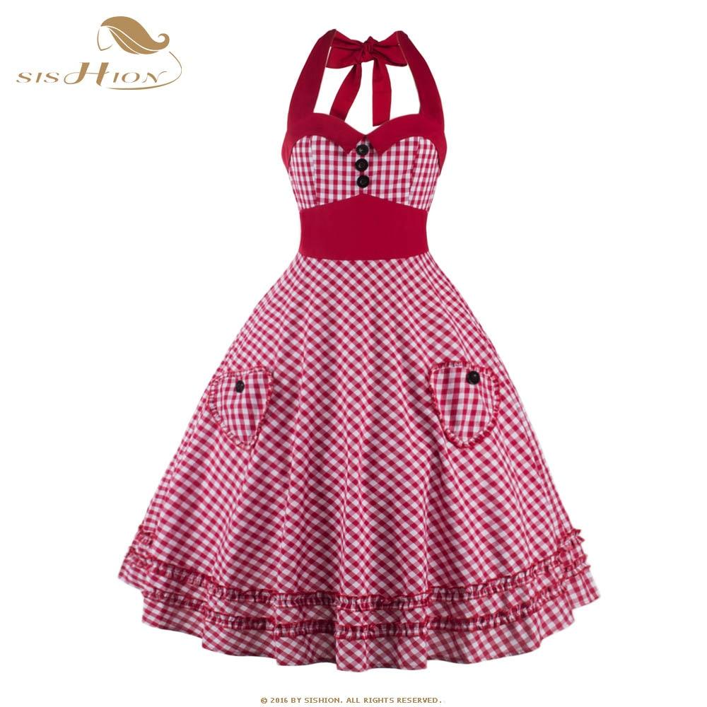 SISHIOH Women Plaid Dress Plus Size Summer Clothing Retro Swing Short Pin up Vintage 60s 50s Rockabilly Dress vestidos VD0384