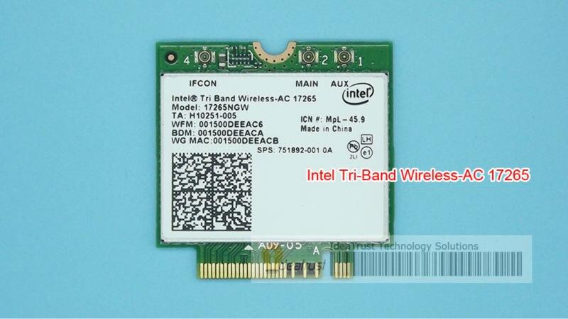 Intel Tri-Band Wireless-AC 17265 Intel17265 802.11ad 80211.ac 4.7Gbps 867Mbps  NGFF M2 Dual-band 2x2 AC BT4.0  Wireless Card