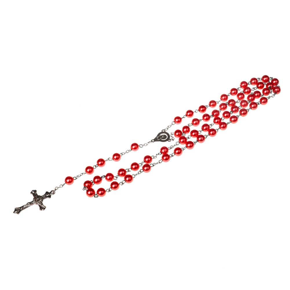 Christian Necklace Cross Pendant Beads Imitation Pearl Necklace Sweater Decor Christmas Gift for Women