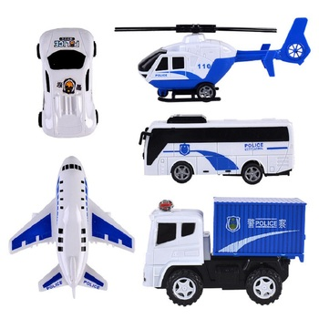 New Product 5 Mixed City Police Toy Inertia Combination Inertia Car Helicopter Model Toy Hot Factory Direct Sales Toy Store