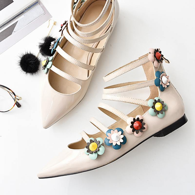 New fashion large size brand shoes flower pointed toe party wedding low heel women pumps sweet sandals sexy office lady shoe 1-1 2017 new fashion brand spring shoes large size crystal pointed toe kid suede thick heel women pumps party sweet office lady shoe
