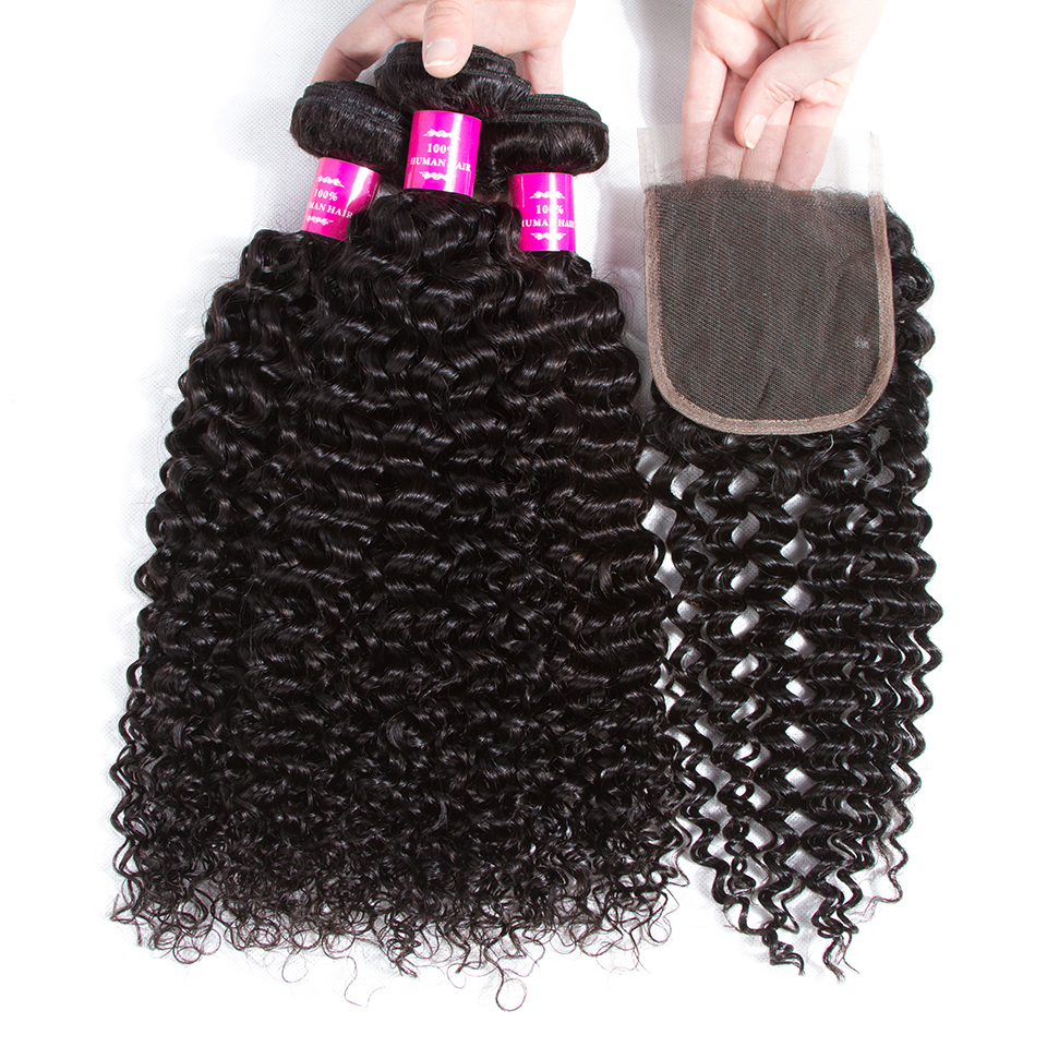 QueenLike Hair Products Malaysian Kinky Curly Hair With Closure Non Remy Hair Weave 3 4 Bundles Human Hair Bundles With Closure