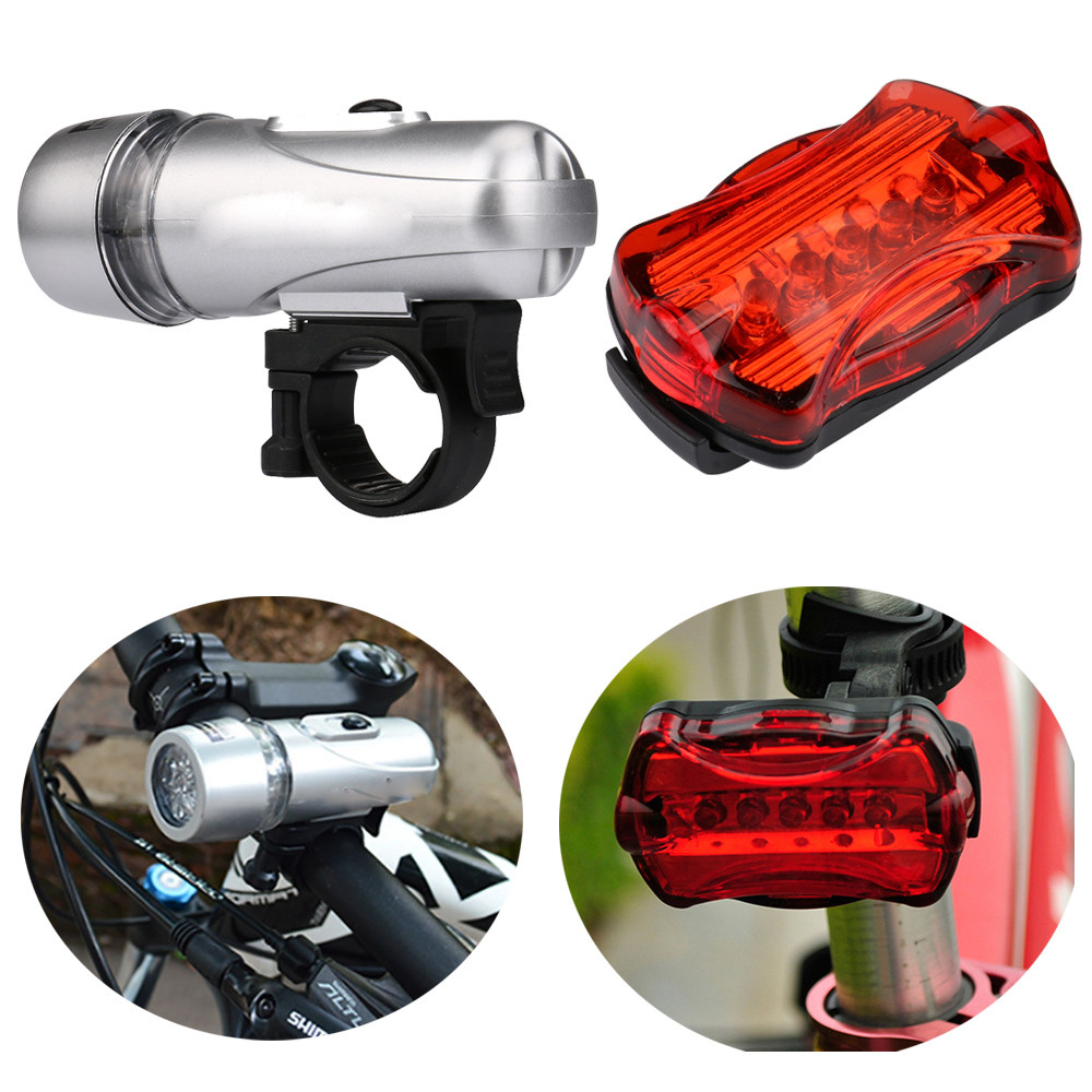 Waterproof 5 Led Light Set Bicycle Bike Front Head Light Rear Safety Night Flashlight Lamp Accessories Lampiao Montana #kj Outstanding Features