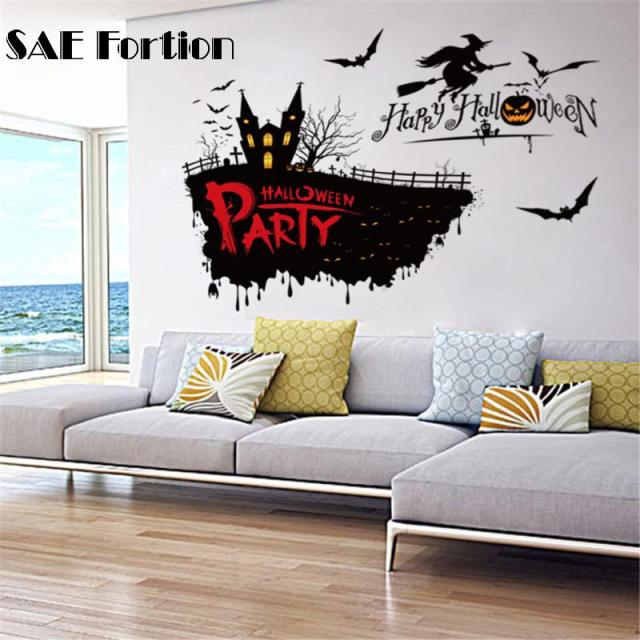 SAE Fortion Halloween Wall Sticker D Horror Witch Bat Decor Wall - Vinyl wall decals home party