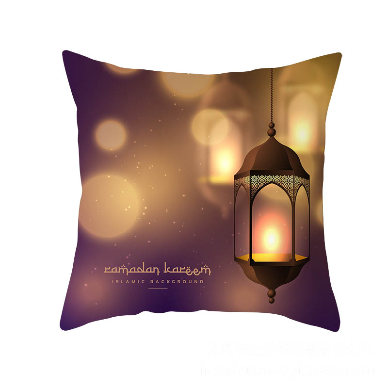2019 45x45cm Muslim Festival Ramadan Kareem Theme Islam Culture Element Moon Pillow Case Cover Home Sofa Waist Cushion Cover EID