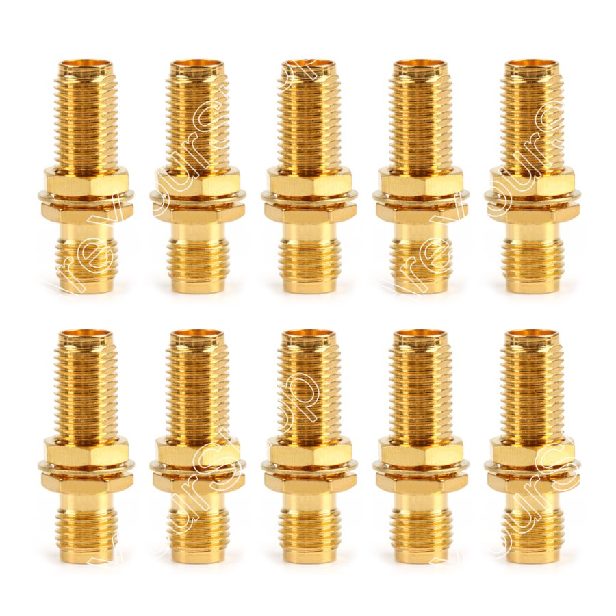 Areyourshop 10x SMA Female to SMA Female Bulkhead Straight RF Coaxial Adapter Connector