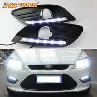 JAZZ TIGER Auto Off Function Waterproof 12V Car LED DRL Lamp LED Daytime Running Light For Ford Focus 2 MK2 2009 2010 2011