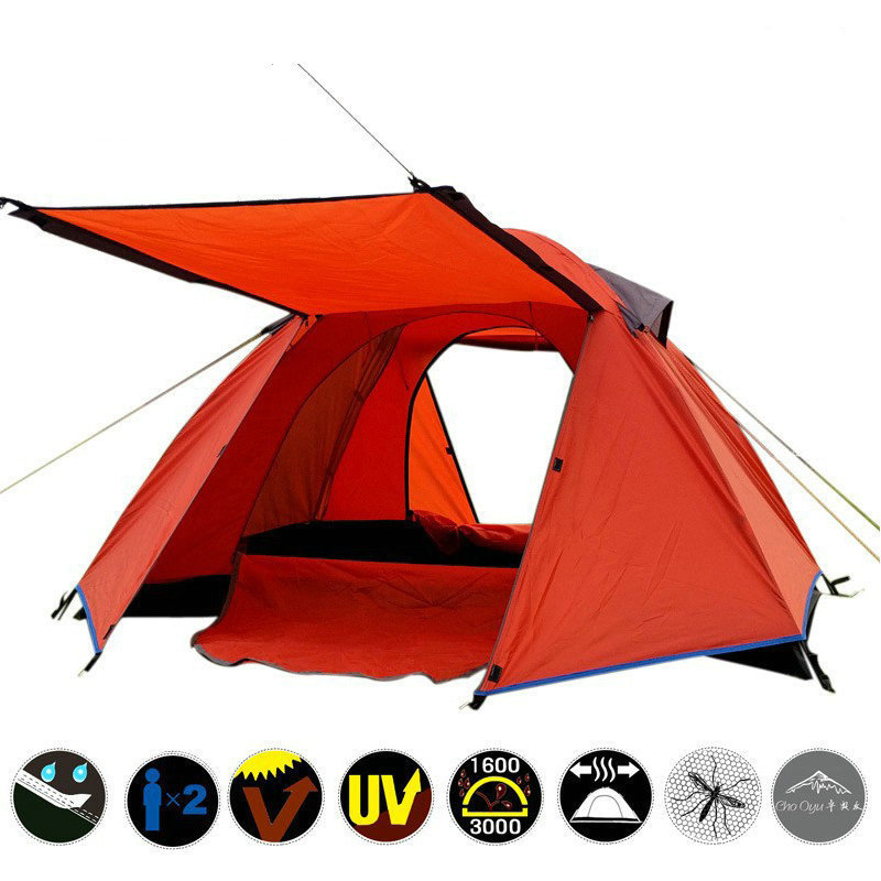 Outdoor Camping Tent Windproof Double Layer 2 Person Large Space Travel Tent Folding 4 Season Garden Children Play Awning Tent 4 5 person portable large camping 2 rooms beach tent waterproof double layer four season outdoor hiking awning tente zp91 page 2