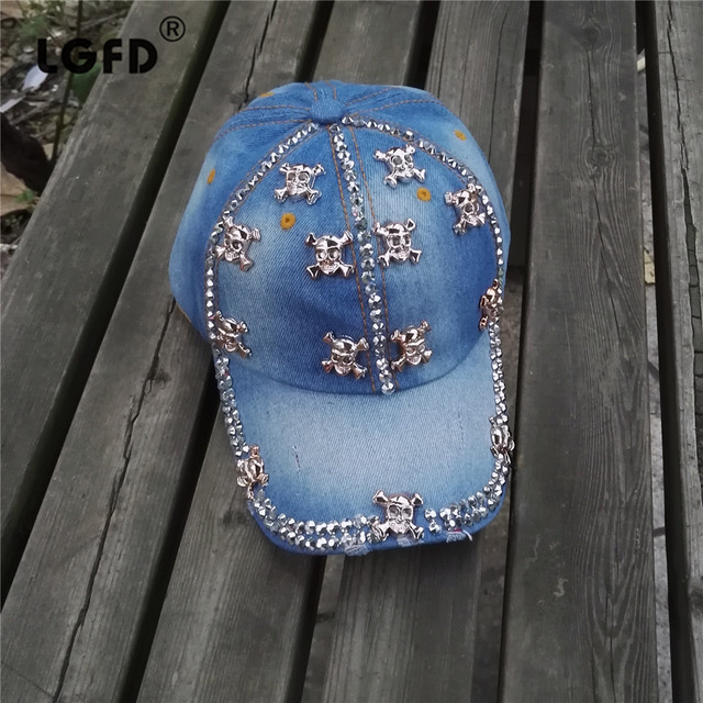 Blue Cap with Rhinestones