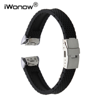Silicone Rubber Watch Band Quick Release Adapter For Samsung Gear Fit 2 SM R360 Stainless Steel