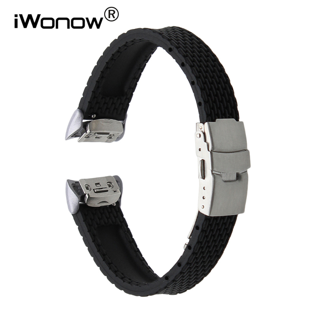 in vendita stili di grande varietà la migliore vendita US $12.99 |Gomma di Silicone Watch Band + Sgancio Rapido Adattatore per  Samsung Gear Fit 2 SM R360 In Acciaio Inox Fibbia della Cintura Di  Sicurezza ...