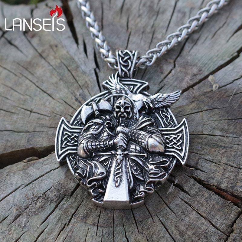 Lanseis 1 stücke viking Odin Helena Rosova halskette anhänger Heathen männer anhänger nordischen schmuck kreuz mit edelstahl kette