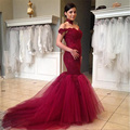 Burgundy Off Shoulder Long Prom Dress Backless Apliques Evening Dress Mermaid Tull Formal Party Gown Vestido De Festa  PD217