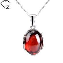 GZ S925 Solid Silver Garnet Red Stone Colgantes de Rubíes 100% Real pura Plata de Ley 925 Collares pendientes para Las Mujeres del Regalo del Día de P1