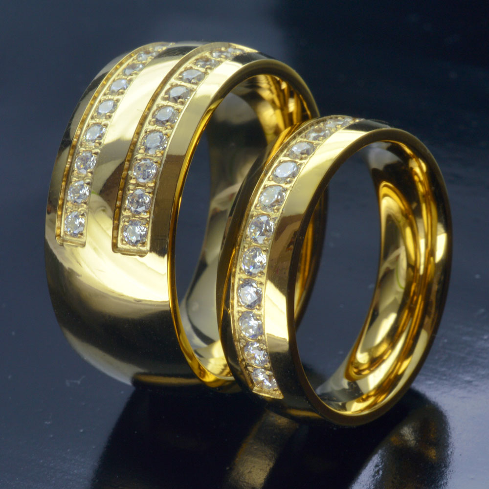 His her Gold Tone STAINLESS STEEL WEDDING ENGAGEMENT RING BAND SET R276 men size 10-15;women size 6-9