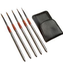 Meeden viagem aquarela acrílico conjunto de escova 5 diferentes formas redondas pontas apontadas cabelo náilon pintura portátil conjunto escova