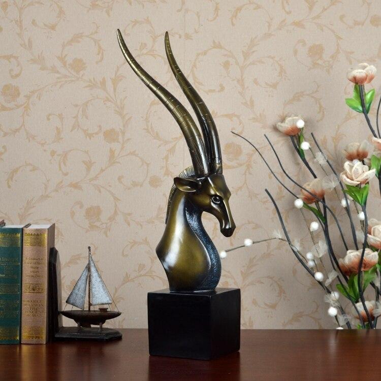 Полимерная для домашнего декора статуя голова антилопы Ретро отель фэн шуй креативный номер статуя Рождественское украшение Высокое Качество Классическое ремесло - 5