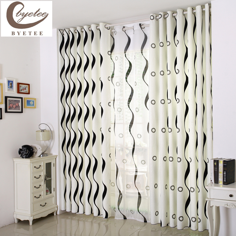 [byetee] Free Shipping Modern Black And White Stripe The Finished Curtain  Window Screening High