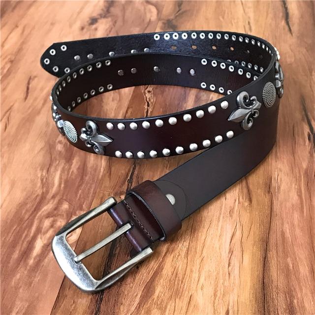 Metal del vaquero del remache punky del cuero genuino Cinturones para  hombres Heavy Rock masculino Cinturones a2e0f8cb0e99