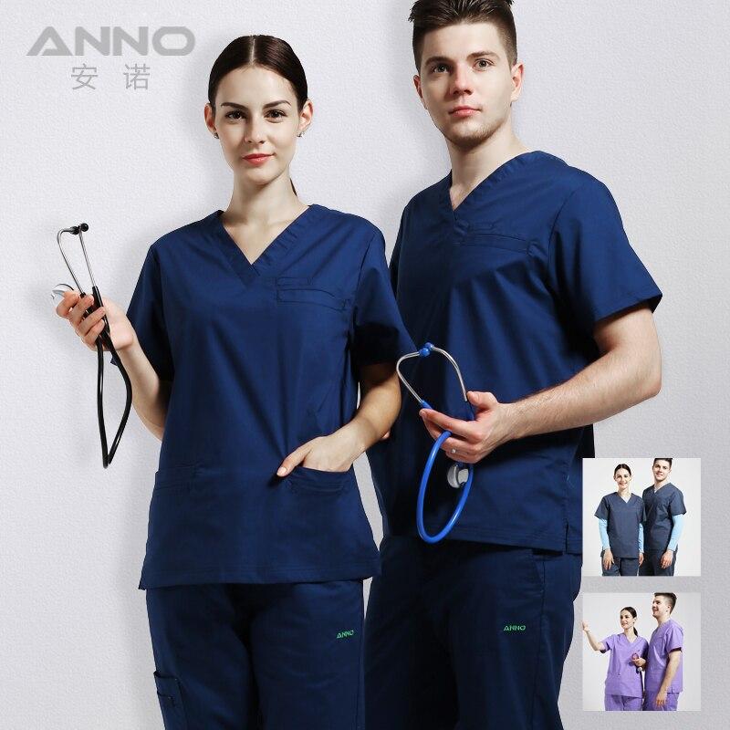 ANNO медицинский эластичный скрабы медперсоналом форма довольно кормящих одежда и салон Slim fit дизайн одежды хирургический