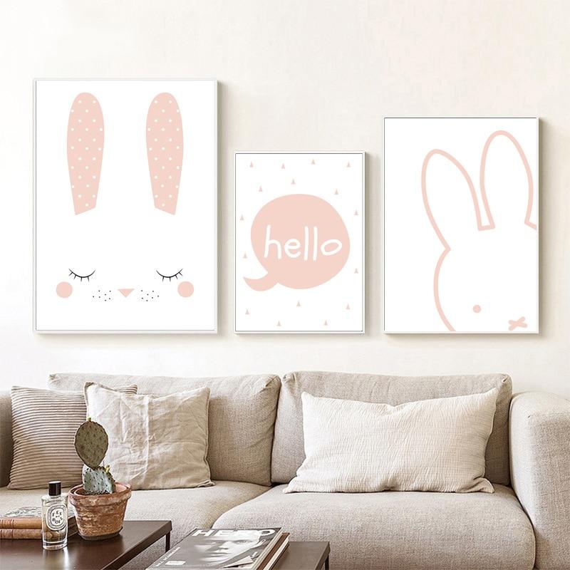 Girls room decor kinder posters wall art cute rosa rabbit kids room ...