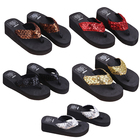 THINKTHENDO New 1Pair Comfortable Summer Soft Women Wedge Sandals Sequin Thong Mid Heels Platform Slippers