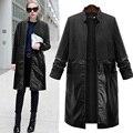 Europe style autumn 2017 new women's windbreaker coat leather stitching woolen trench women PU Splice coat mujer outwear XL-5XL