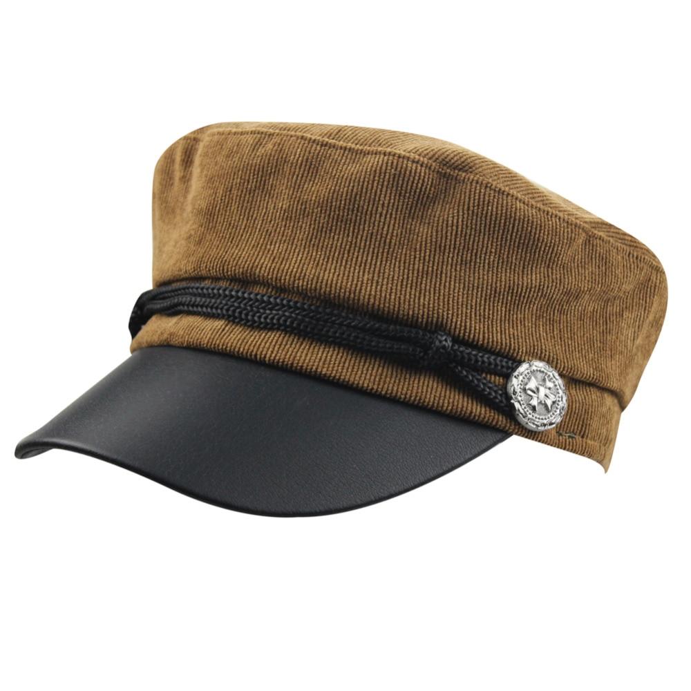 Womens Mens Retro Flat Top Corduroy PU Leather Sailor Ship Yacht Boat Captain Hat Navy Marines Admiral Baseball Cap Beret Hat