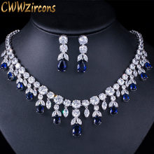 CWWZircons Luxus Dark Blue Frauen Hochzeit Party Kleid Schmuck Big Baumeln Braut CZ Halskette Ohrringe Schmuck Sets T341(China)