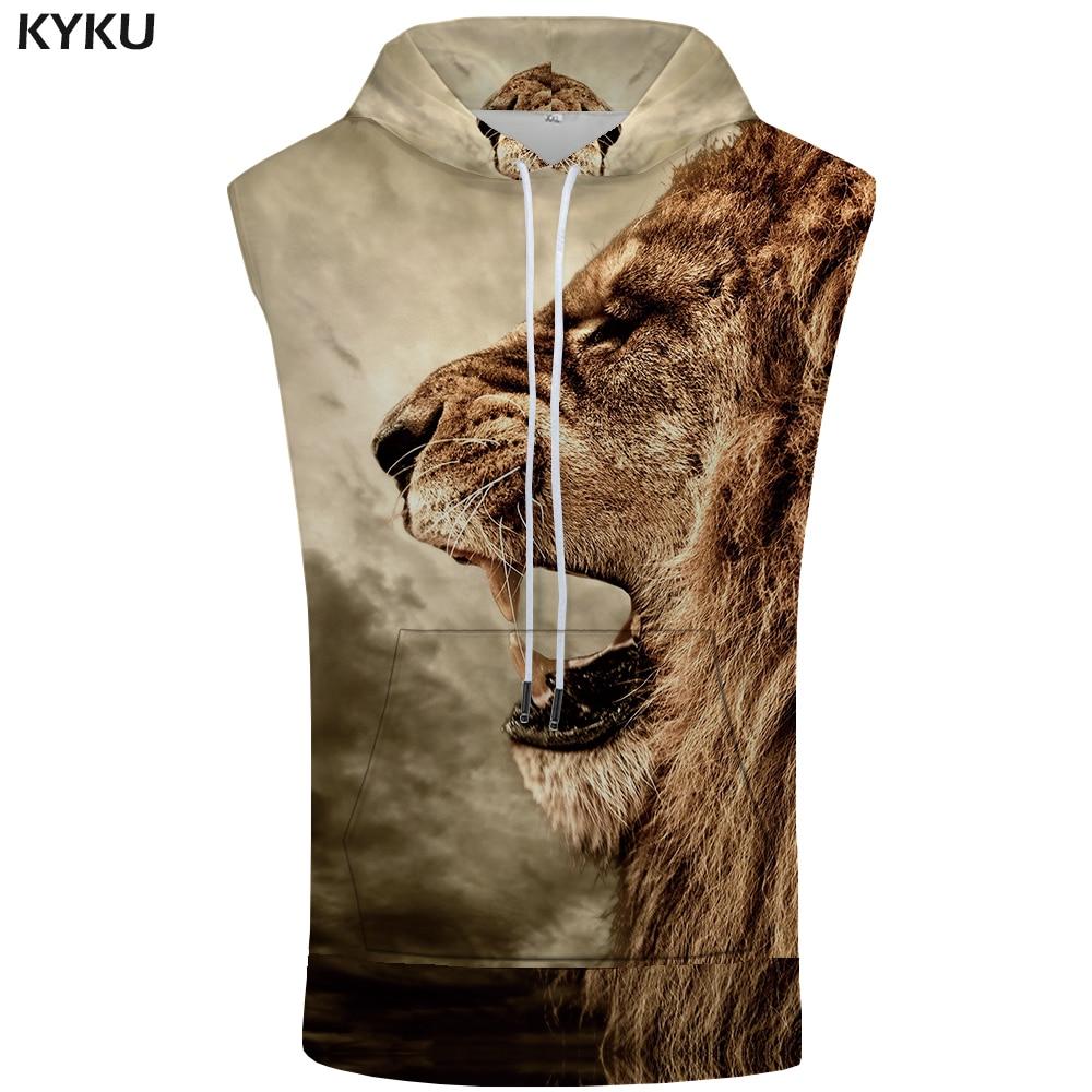 KYKU Lion Sleeveless Hoodie Men Funny Shirt Anime Fashion Sweatshirt Bodybuilding Stringer Mens Clothing 2018 Summer Hip Hop Top
