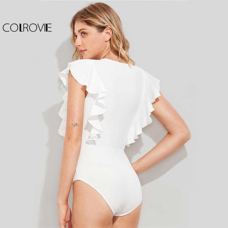 COLROVIE черное милое текстурированное боди с рюшами, женское Белое Облегающее летнее боди с рукавом-крылышком, Модное Новое сексуальное короткое обтягивающее боди