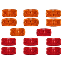 14X Trailer Marker Led Light Double Bullseye 10 Diodes Clearance Lamps Red/Amber