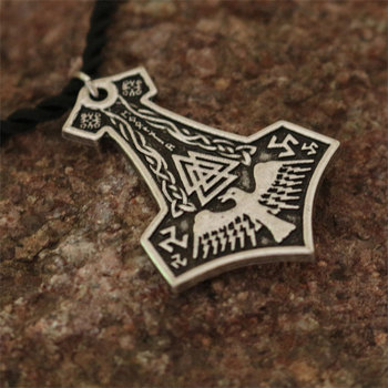 20pcs wholesale  Black Crow necklace valkunt Symbols Thors Hammer Pendant - Viking Norse God (Mjolnir) jewelry