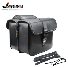 2x Universal Motorcycle Saddle bags Cruiser Side Storage Tool Pouches For Harley