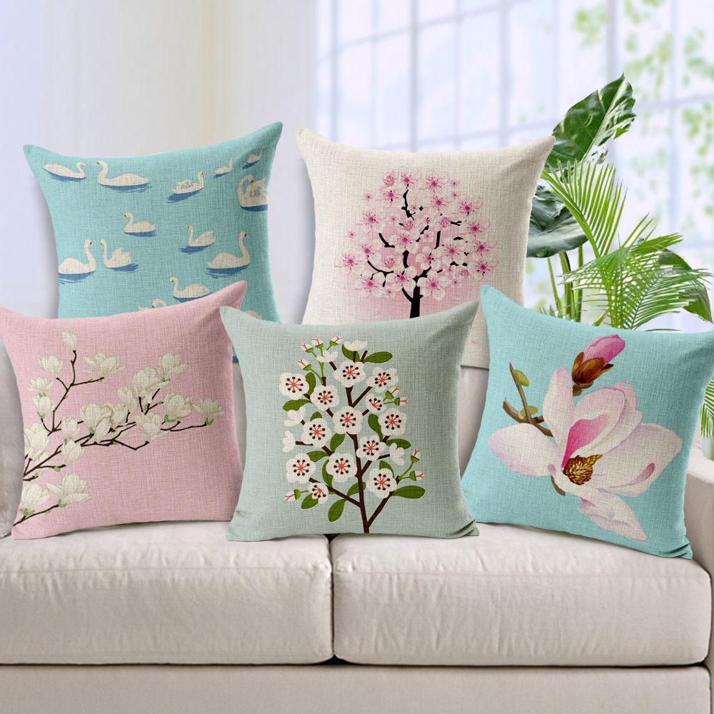 Pastoral Pink Floral Cushion Cover Plants Flowers Blossom Tree Swan