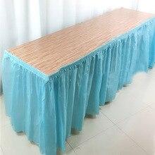 BALLE, falda de mesa desechable, fiesta de plástico, 13 colores, 73x420 cm, cubierta de mesa para fiesta de cumpleaños, decoración de fiestas de bodas