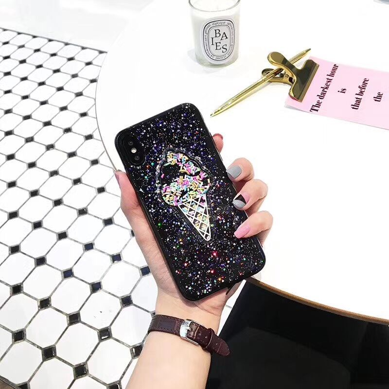 RMJ-DNA fashion 3D ice cream glitter Phone Cases For iphone X Rainbow sequins tpu for iphone 7 8 6 6 s 6 Plus back cover Coke