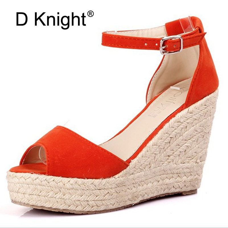 Big Size 32-44 New Summer Women's Sandals Peep-Toe Shoes Woman 9CM/11CM High-Heeled Platfroms Casual Wedges For Women High Heels купить в Москве 2019